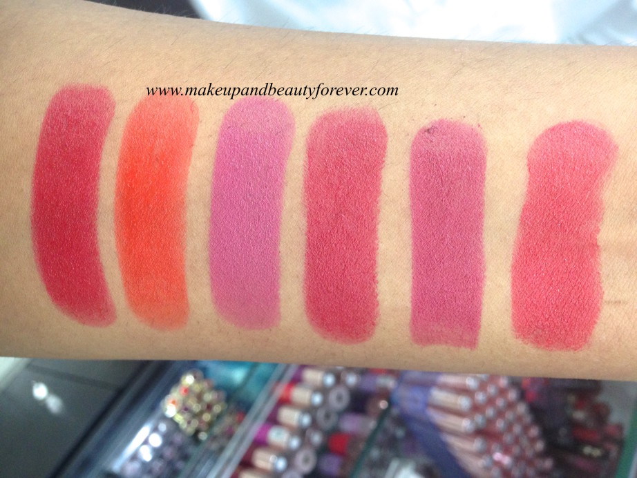Lakme Absolute Hi Definition Matte Lipstick Burgundy Affair, Coco Shot, Coral Flare, Crimson Touch, Maroon Magic, Mauve Fix, Peach Out, Red flames, Red rush, Rose bloom, Tangerine lush
