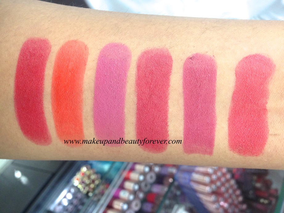 Lakme Absolute Matte Lipstick Burgundy Affair, Coco Shot, Coral Flare, Crimson Touch, Maroon Magic, Mauve Fix, Peach Out, Pink Caress, Pink Glam, Pink me up, Plum spell