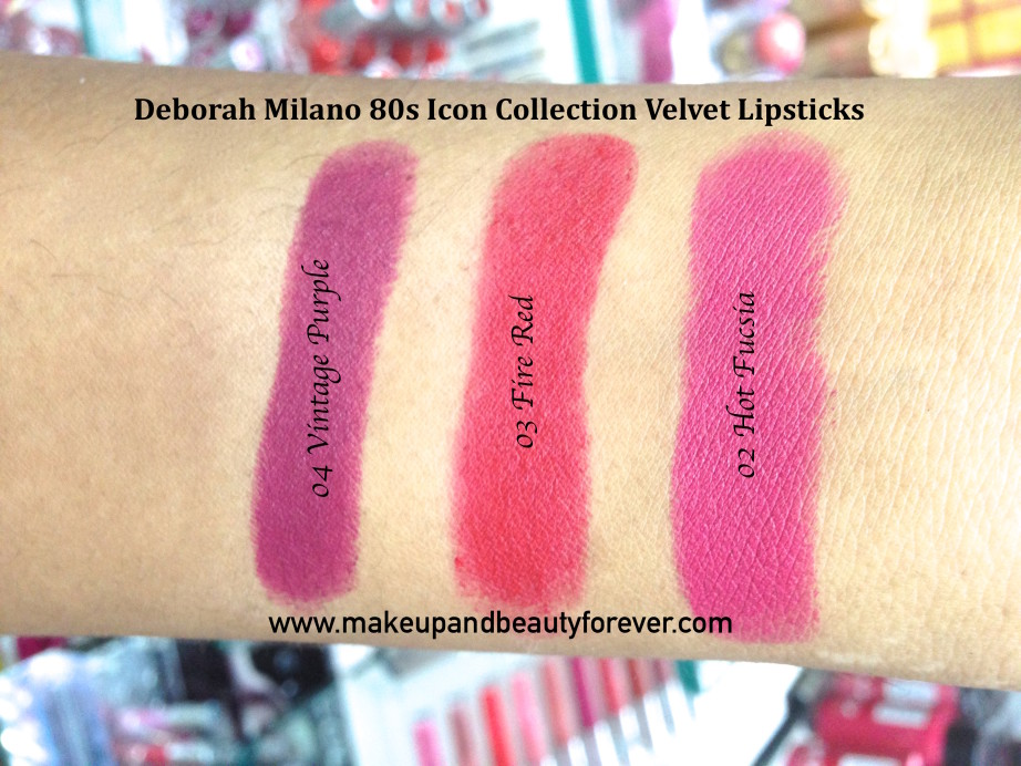 Deborah Milano 80s Icon Collection Velvet Lipsticks Nude Rose Hot Fucsia Fire Red Vintage Purple Review Swatches Price