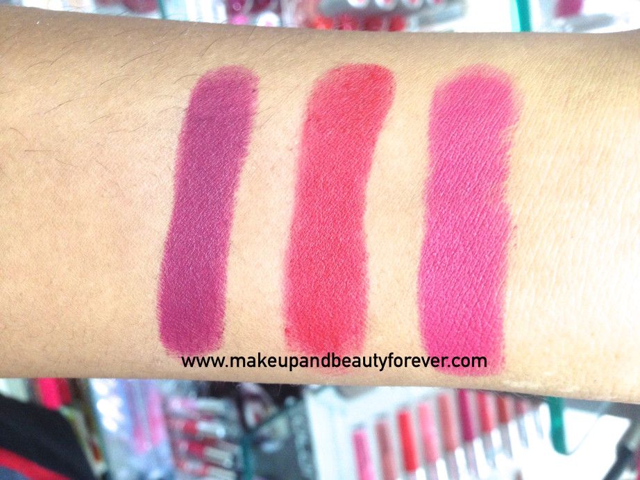 Deborah Milano Velvet Lipsticks 01 Nude Rose 02 Hot Fucsia 03 Fire Red 04 Vintage Purple Review Swatches Price India