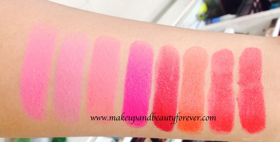 All Maybelline Color Show Matte Lipstick Review Shades Swatches M101 Pink Power Pop of Pink Rock the Coral Flaming Fuchsia M201 Bold Crimson Firecracker Red Hot Chili Red Carpet India