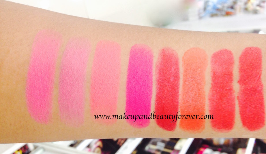 All Maybelline Color Show Matte Lipstick Review Shades Swatches Price India M101 Pink Power M102 Pop of Pink M103 Rock the Coral M104 Flaming Fuchsia