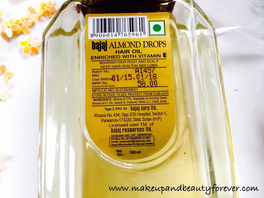 Bajaj Almond Drops Non Sticky Hair Oil With Vitamin E Review