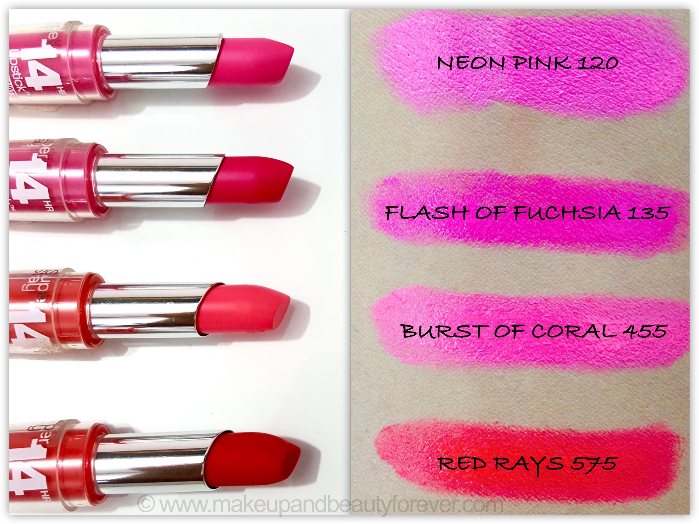 All Maybelline Superstay 14H Megawatt Lipstick Review, Shades ...