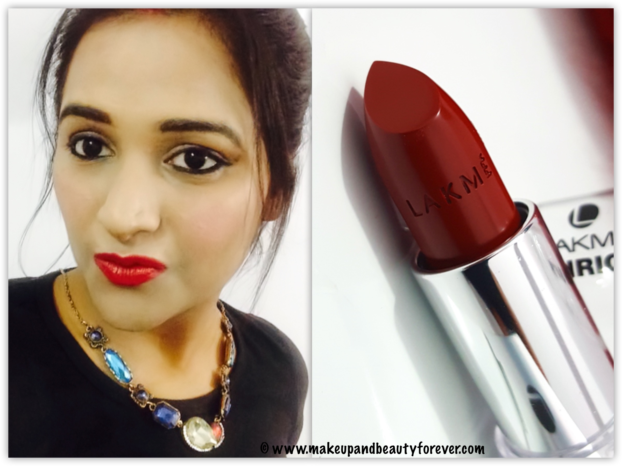 lakme enrich satin lipstick red r 352 review swatches fotd