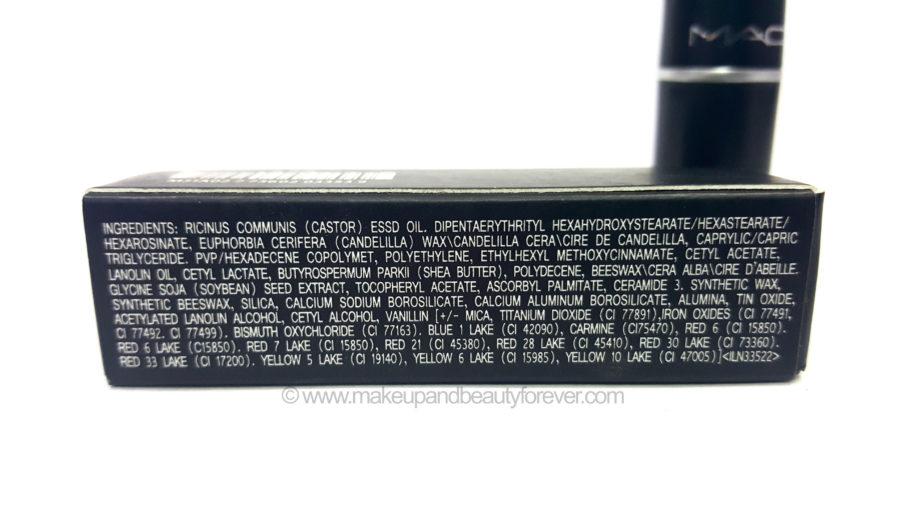 MAC Morange Amplified Creme Lipstick ingredients