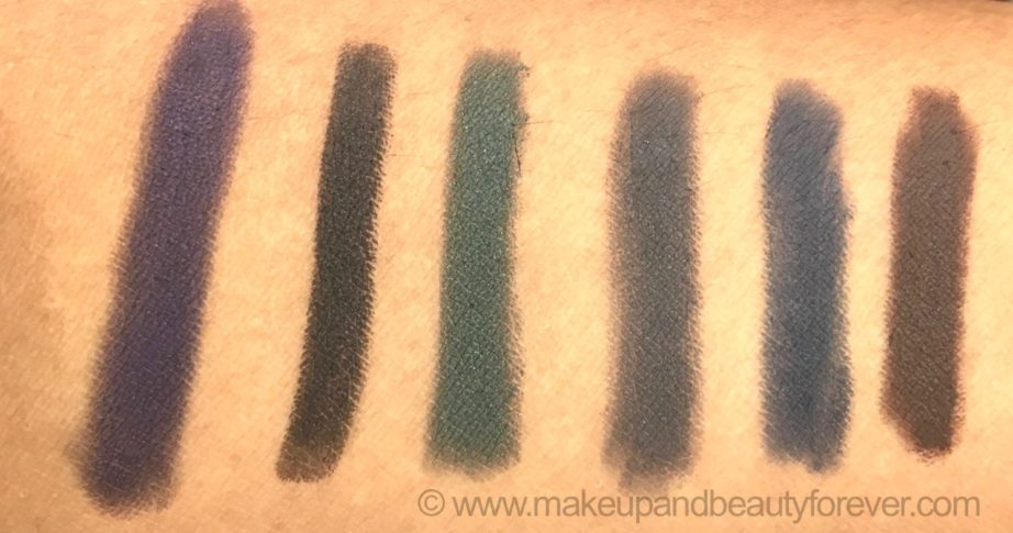All L'Oreal Color Riche Le Smoky Eyeliner with Smudger 6 Shades Review Swatches Purple dream Black Velour Antique Green Mystic Grey Stormy Sea Brown Fusion MBF