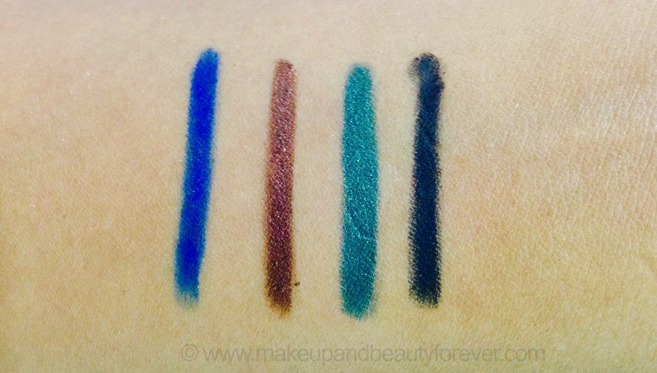 All Lakme Absolute Precision Artist Eye Liners Kajal Shades Review Swatches Blue Sapphire burnished brown emerald green ebony black