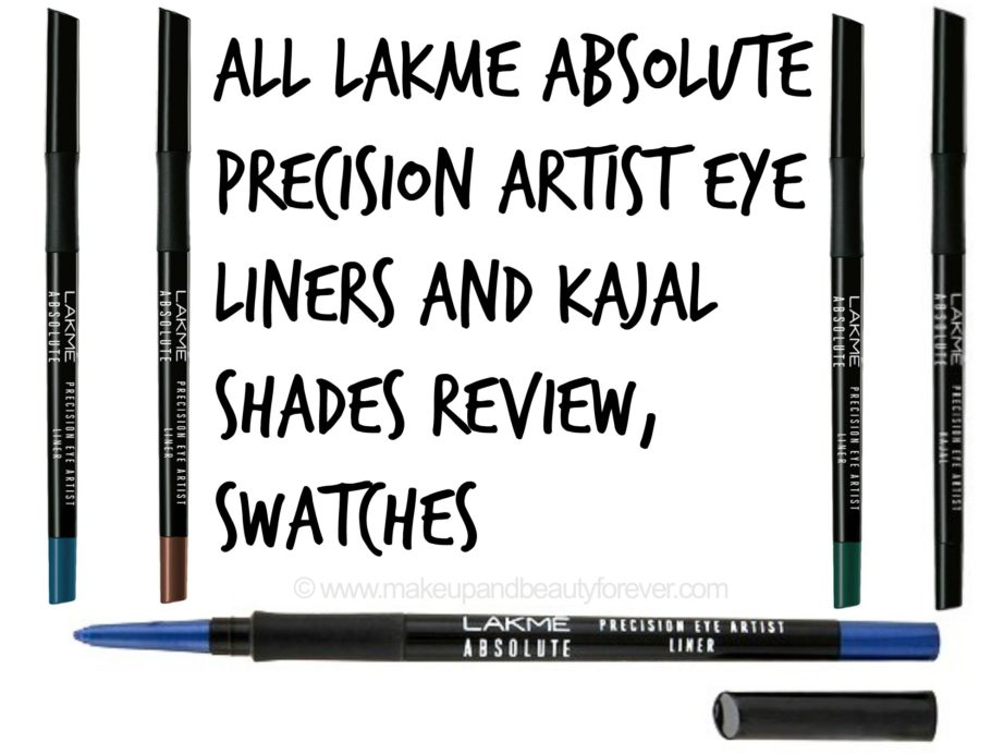 All Lakme Absolute Precision Artist Eye Liners and Kajal Shades Review Swatches