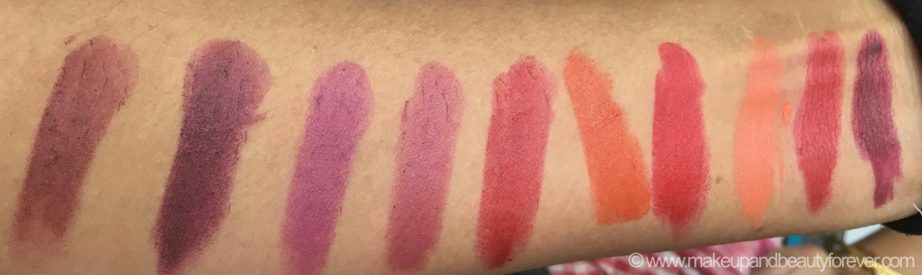 All New Lakme Enrich Matte Lipstick Shades Swatches BM 11 RM 15 WM 10 WM 11 RM 12 OM 10 RM 13 OM 12 RM 14 RM 10