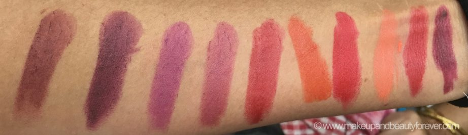 All New Lakme Enrich Matte Lipstick Shades Swatches BM 11, RM 15, WM 10, WM 11, RM 12, OM 10, RM 13, OM 12, RM 14, RM 10