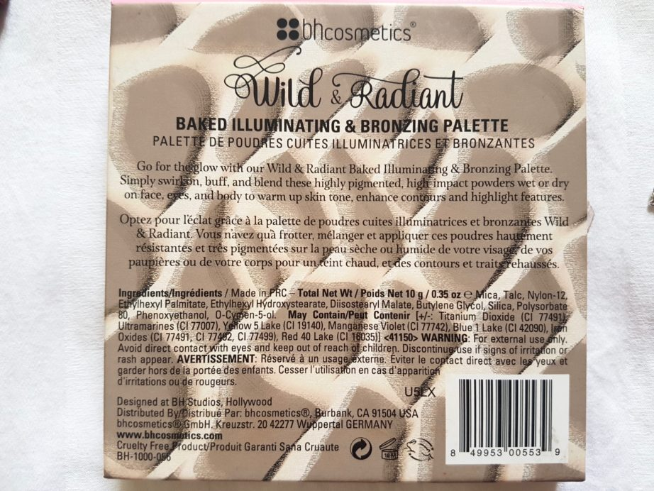 Bh Cosmetics Wild and Radiant Palette Review Swatches Ingredients