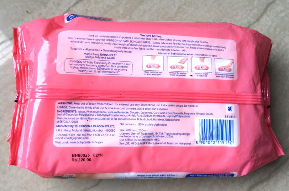 Johnson's Baby Skin Care Wipes as Makeup Removing Wipes