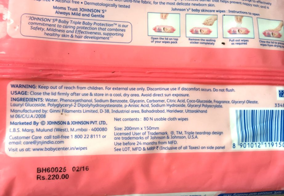 Johnson's Baby Skin Care Wipes as Makeup Removing Wipes Review ingredients