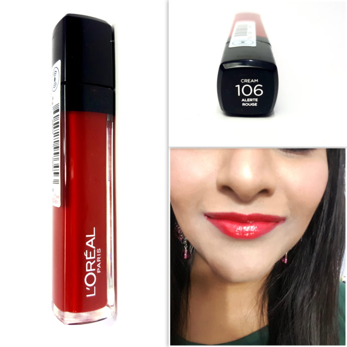 L'Oreal Infallible Mega Gloss 106 Alerte Rouge Review Swatches
