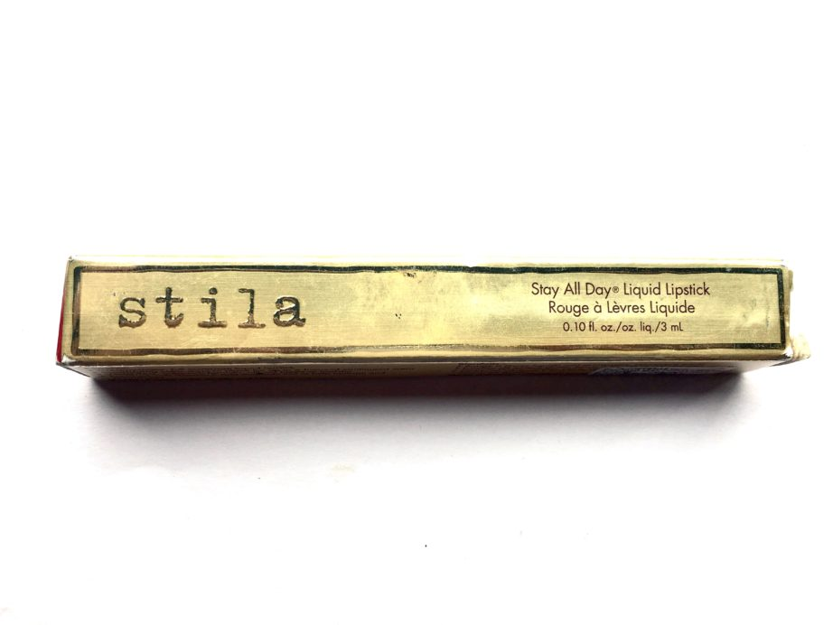 Stila Stay All Day Liquid Lipstick Fiery Review Swatches box