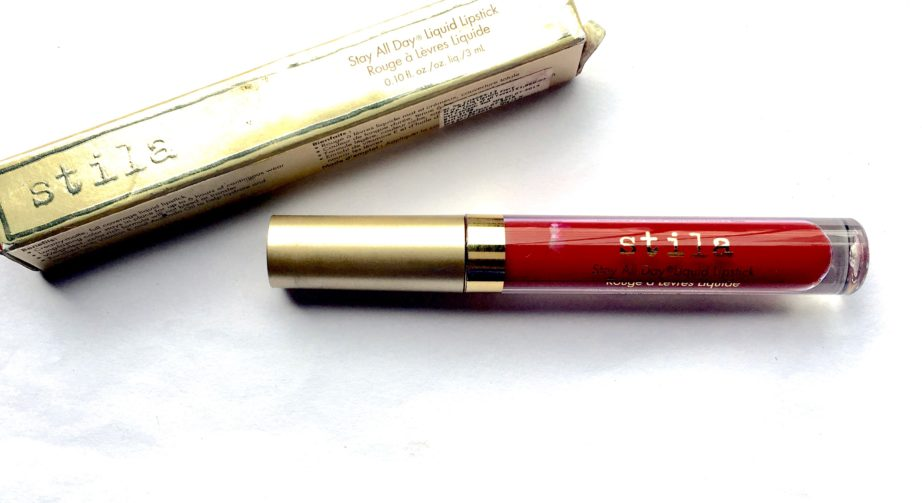 Stila Stay All Day Liquid Lipstick Fiery Review Swatches on lips