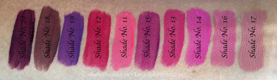 All Inglot HD Lip Tint Matte Liquid Lipsticks 10 Shades Review Swatches Shade No. 20, 18, 19, 12, 11, 15, 13, 14, 16, 17