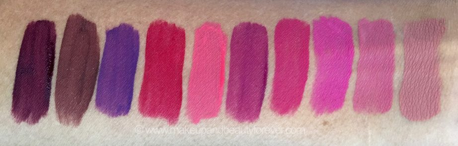 All Inglot HD Lip Tint Matte Liquid Lipsticks 10 Shades Review Swatches Shade No. 20, 18, 19, 12, 11, 15, 13, 14, 16, 17 mbf blog