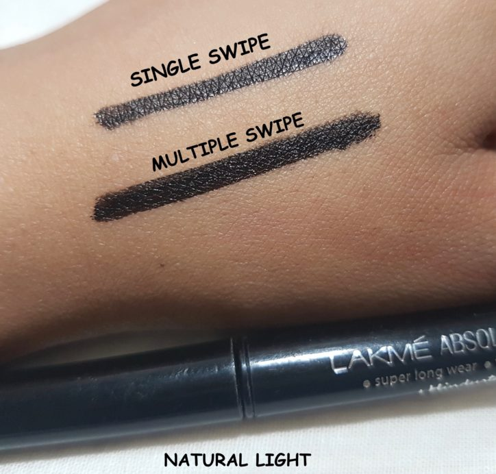 Lakme Absolute Precision Liquid Liner Review Swatches natural light