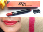 Nykaa Matteilicious Lip Crayon Hot As Red Review, Swatches