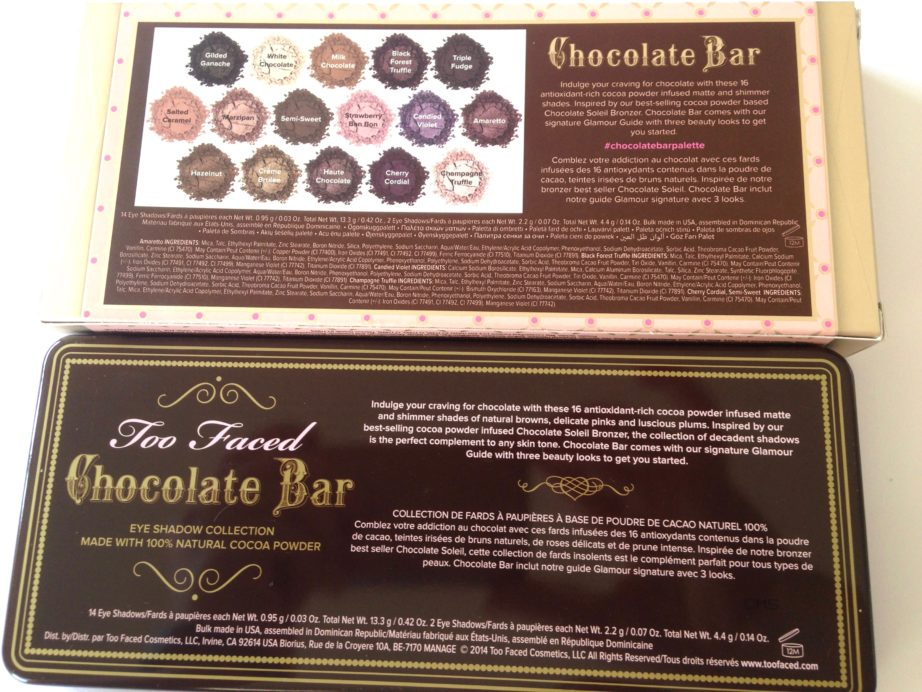 Populaire Too Faced Chocolate Bar Eyeshadow Palette Review, Swatches HF55