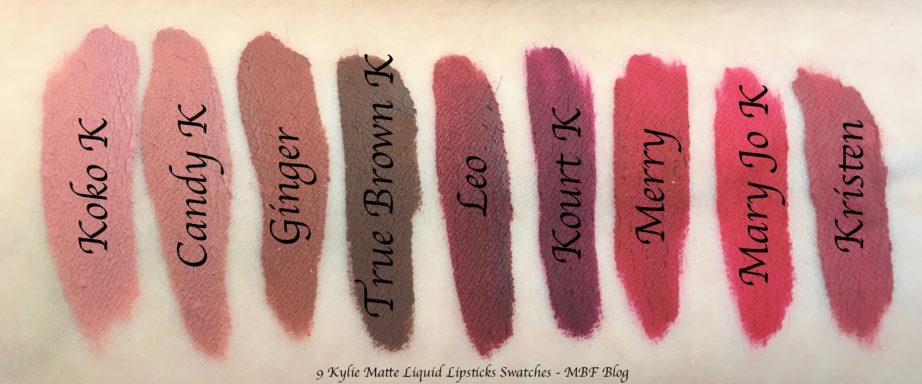 9 Kylie Matte Liquid Lipsticks Shades Review, Swatches