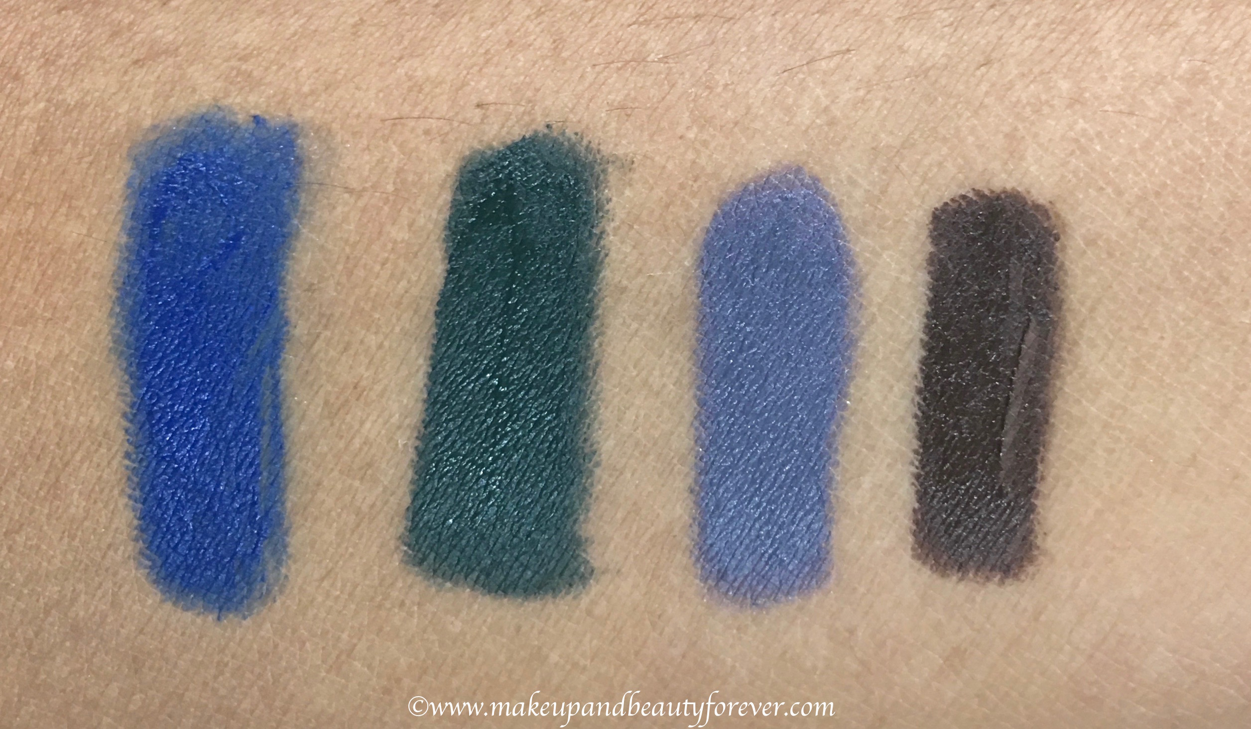 all faces ultime pro mystic kajal 4 shades review swatches blue