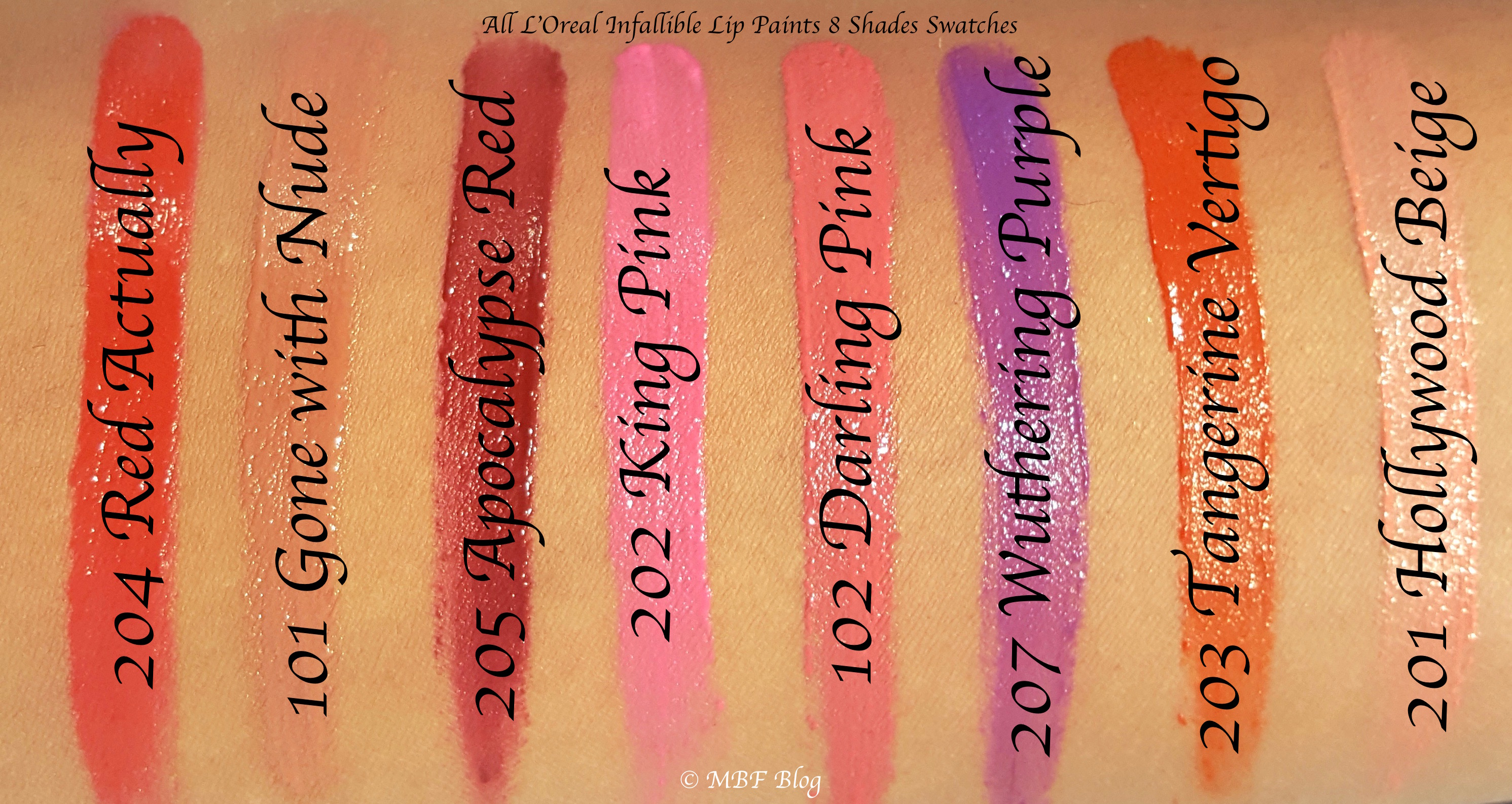 All L Oreal Infallible Lip Paints 8 Shades Review