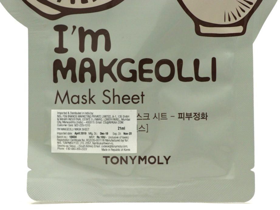 TonyMoly I'm Real Makgeolli Mask Sheet Review