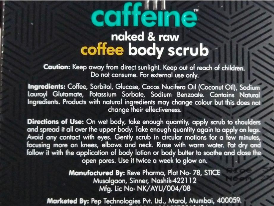 MCaffeine Naked & Raw Coffee Body Scrub Review ingredients