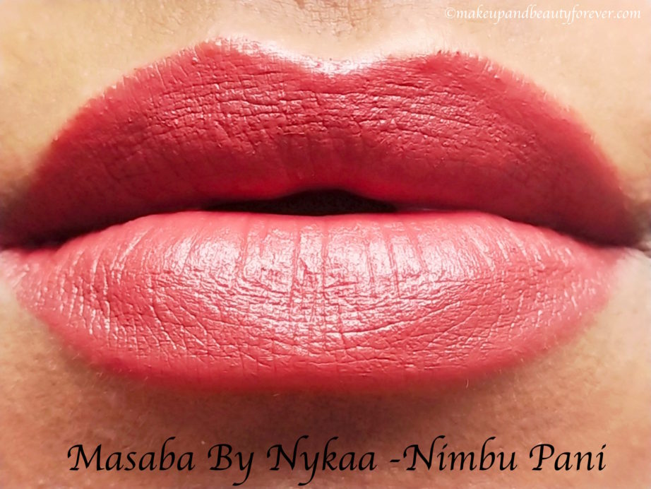 Masaba By Nykaa Lipstick Nimbu Pani Review, Swatches MBF Blog Lips