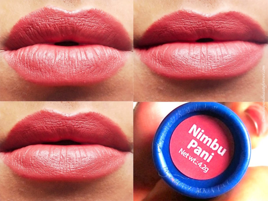Masaba By Nykaa Lipstick Nimbu Pani Review, Swatches on lips
