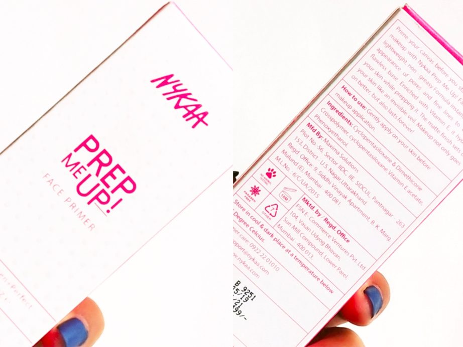 Nykaa Prep Me Up Face Primer Review, Swatches packaging