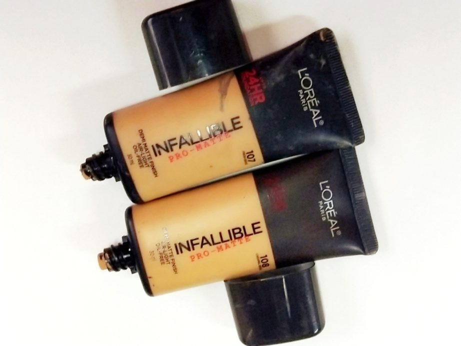Loreal Infalliable Pro Matte Foundation Fresh Beige and Caramel Beige review swatches 107, 108