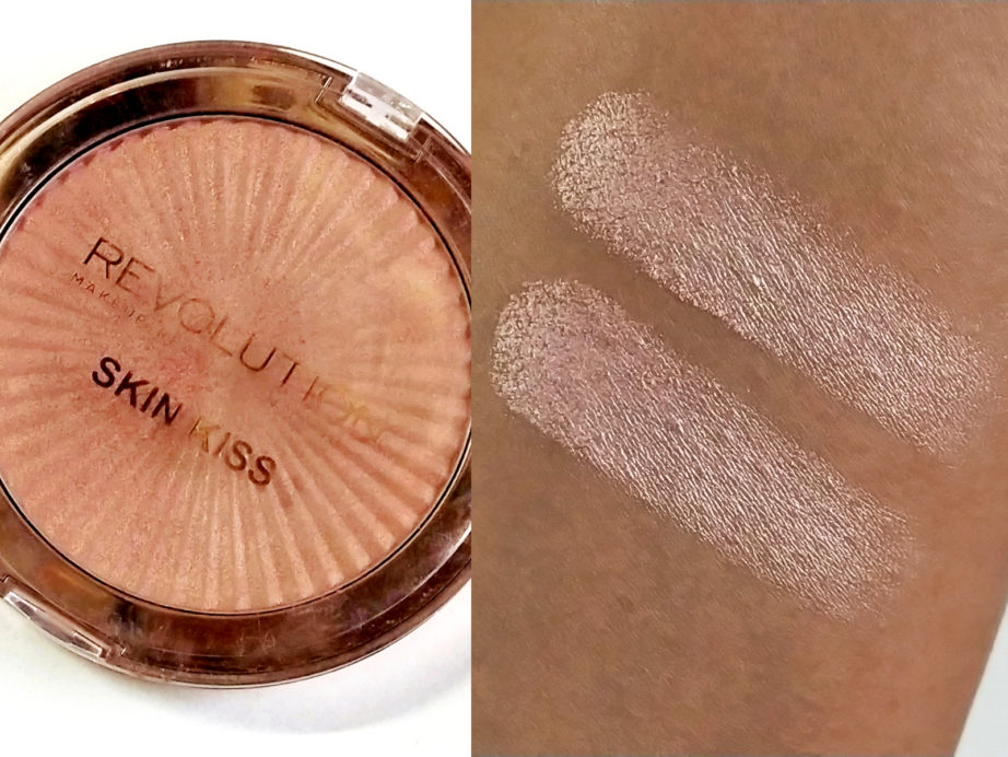 Makeup Revolution Skin Kiss Highlighter Peach Kiss Review, Swatches Skin MAC NC 42