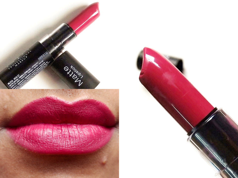NYX Matte Lipstick Merlot MLS16 Review, Swatches